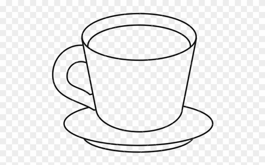 Coffee cup & saucer black & white clipart graphic freeuse library Teacup Clipart Cup Saucer - Cup And Plate Drawing - Png ... graphic freeuse library