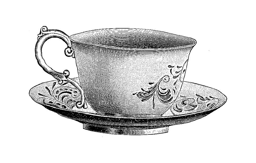 victorian tea cup & saucer clip art | ... Tea Cup Digital ... image free stock