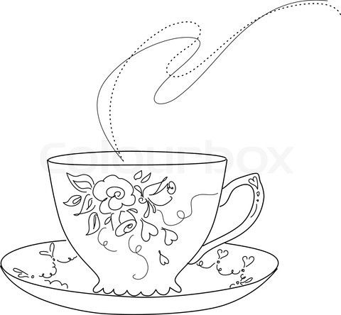 Teacup and a book clipart graphic black and white free sketch of fancy tea cup and saucer | Stock vector of ... graphic black and white