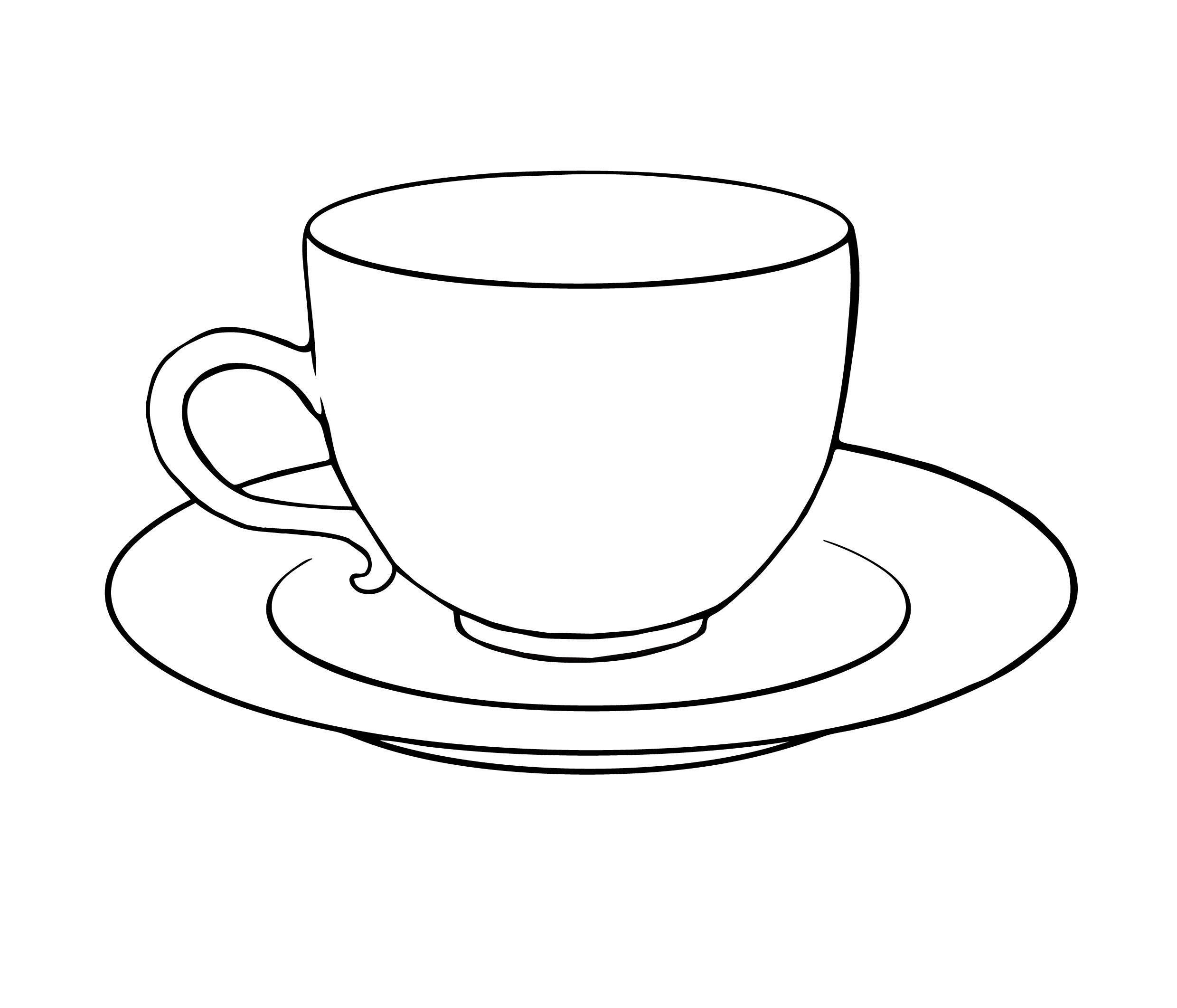 Coffee cup & saucer black & white clipart clipart transparent library Free Black And White Tea Cups, Download Free Clip Art, Free ... clipart transparent library