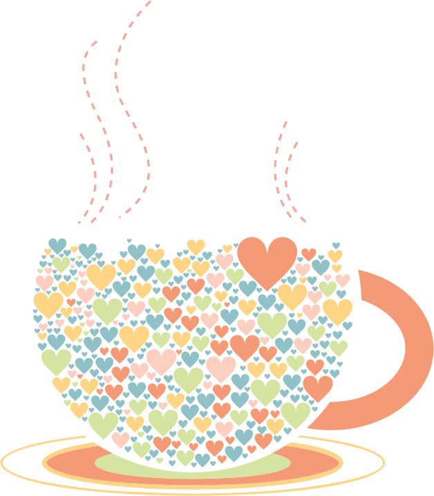 Coffee heart clipart picture black and white Clipart - Love Hearts Coffee By Lin Chu picture black and white