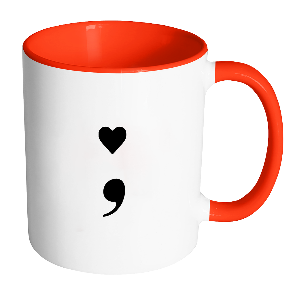 Coffee mug with heart clipart picture transparent library Heart Semicolon Accent Mug – Mental Health Mugs picture transparent library