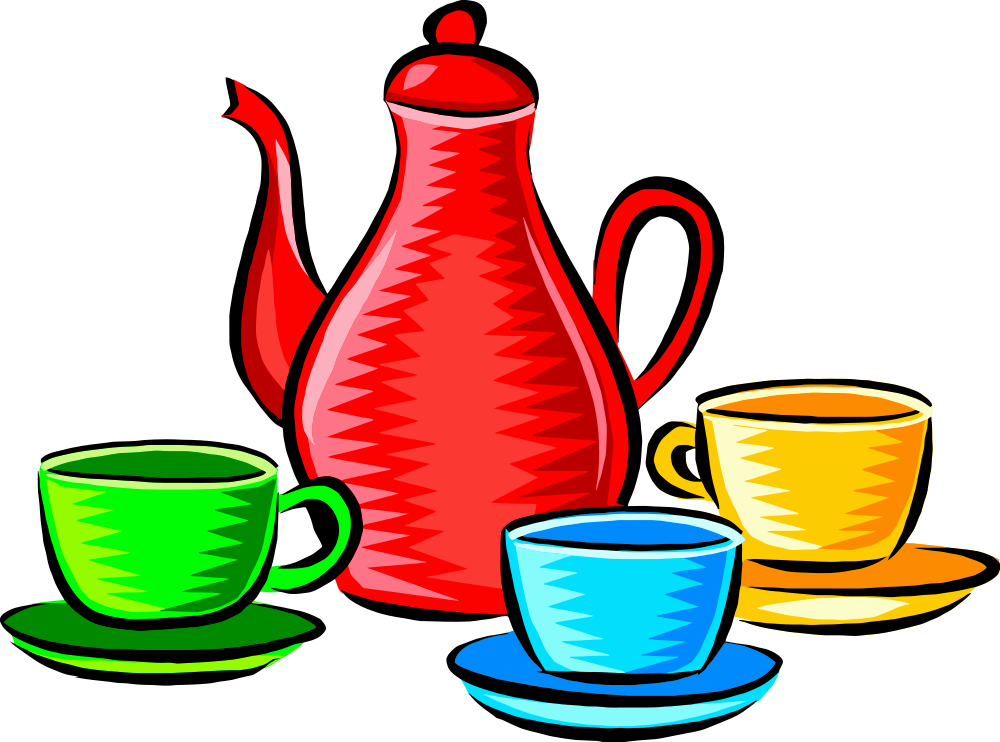 Coffee pot & cup clipart clip free OnlineLabels Clip Art - Coffee Pot And Cups (Colour) clip free