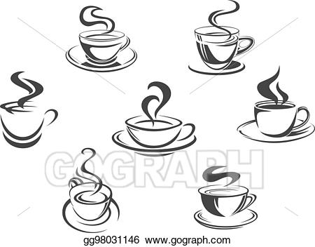 Coffee steam clipart image royalty free Vector Illustration - Coffee cups or mugs steam vector icons ... image royalty free