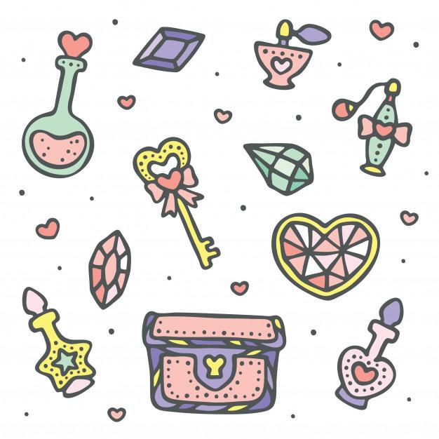 Cofre magico clipart clipart library stock Conjunto de joya, poción mágica, cofre del tesoro y llave ... clipart library stock
