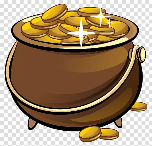 Coinpot clipart banner royalty free library Gold coin Leprechaun Money, gold pot transparent background PNG ... banner royalty free library