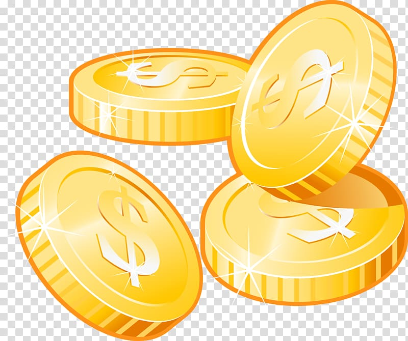 Coins clipart icon vector library download Four gold dollar coin illustration, Icon, Gold coins transparent ... vector library download