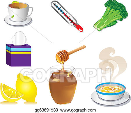 Cold and flu drink clipart banner freeuse library EPS Illustration - Sick cold flu icons. Vector Clipart gg63691530 ... banner freeuse library