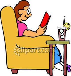 Cold reading clipart banner download A Person Sitting In a Chair and Reading a Book with a Cold Drink ... banner download