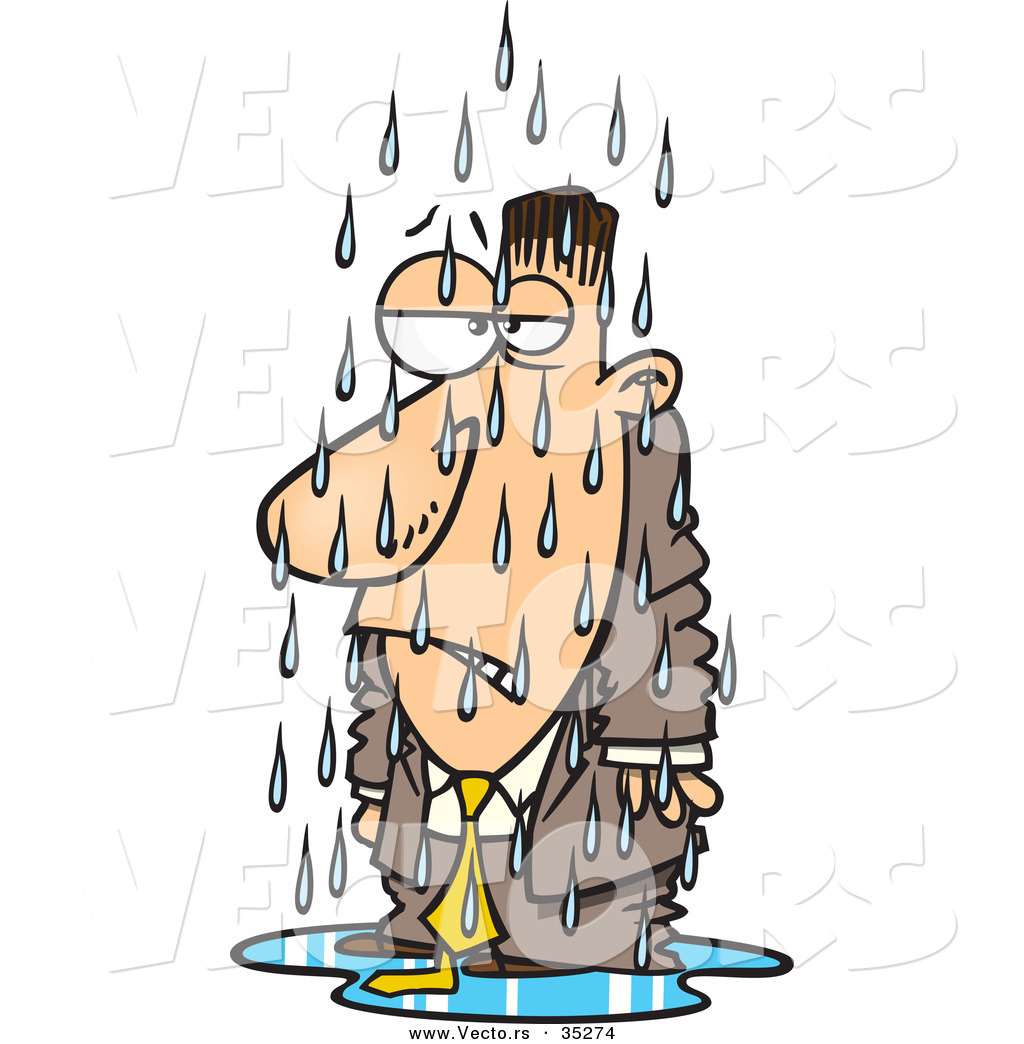 Cold shower clip art. Vector of a grumpy