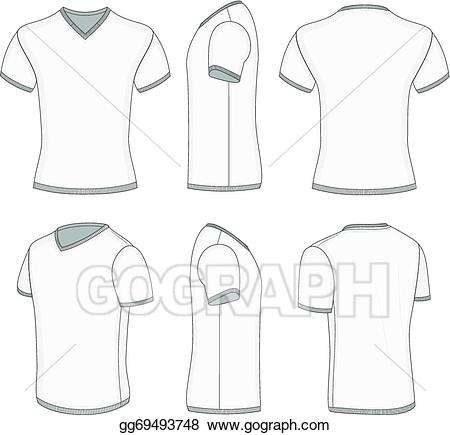 Collar t shirt template clipart banner library download Vector Stock - Men\'s white short sleeve t-shirt v-neck. Stock Clip ... banner library download