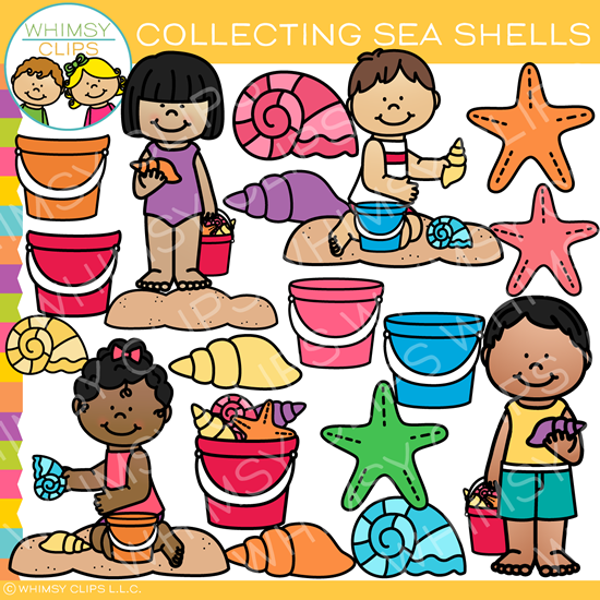 Collecting clipart graphic black and white library Kids Collecting Seashells Clip Art graphic black and white library