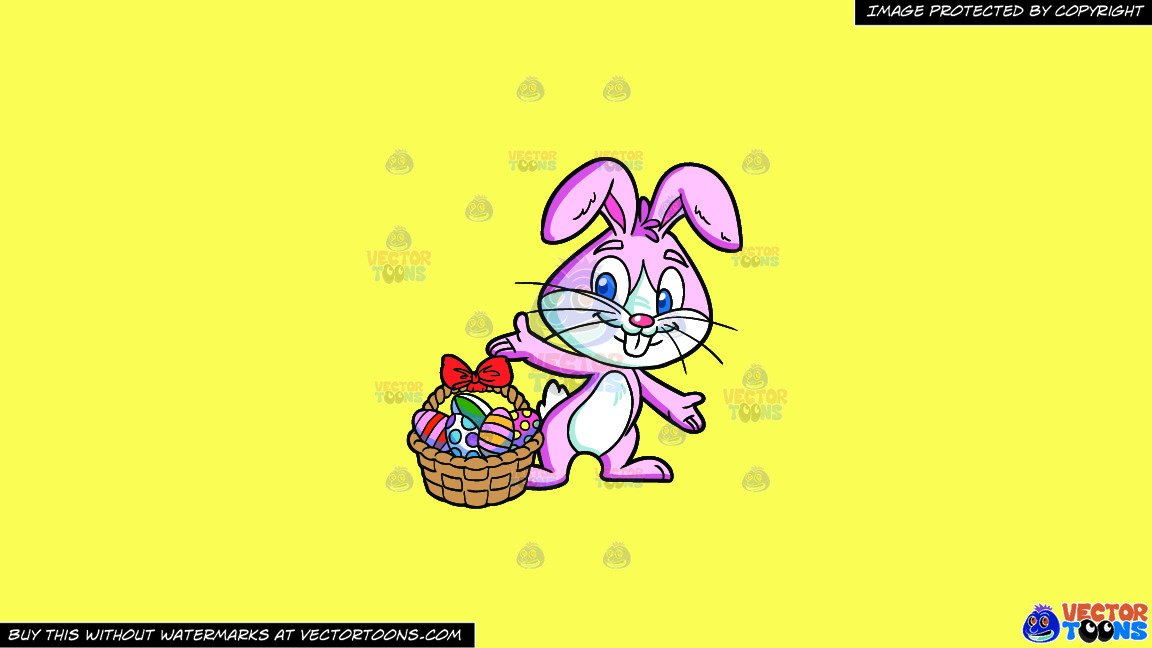 Collecting clipart freeuse stock Clipart: An Easter Bunny Collecting Colorful Eggs on a Solid Sunny Yellow  Fff275 Background freeuse stock