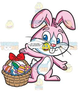 Collecting clipart freeuse An Easter Bunny Collecting Colorful Eggs freeuse