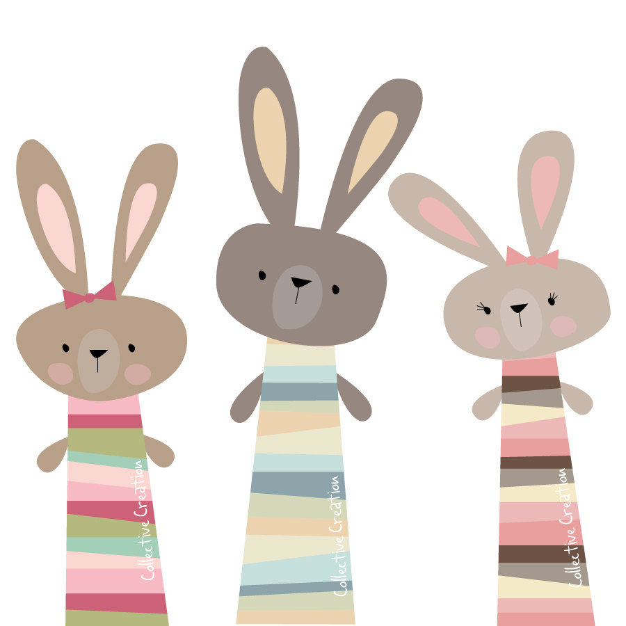 Collective creation clipart svg freeuse Three Little Rabbits Digital Clip Art by CollectiveCreation - Clip ... svg freeuse