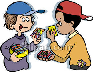 Collectors clipart png transparent library Two Boys Trading Collectors Cards Royalty Free Clipart Picture png transparent library