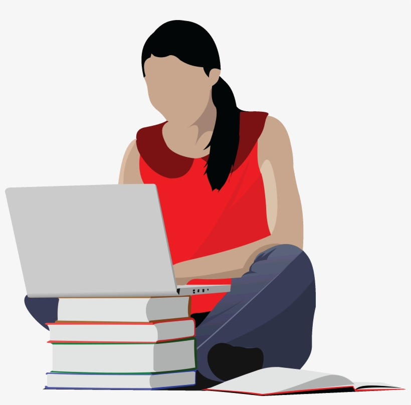 College student clipart free banner royalty free Studying Girl Clip Art - College Student Clipart - Free Transparent ... banner royalty free