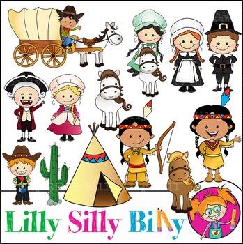 Colonial children clipart png transparent download MEGA BUNDLE. Colonial Kids, BLACK AND WHITE/ Color clipart. {Lilly silly  Billy} png transparent download