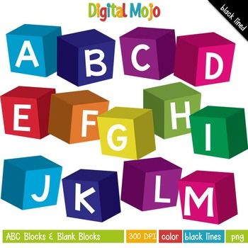 Color blocks clipart picture library Clipart - ABC Blocks and Blank Blocks | Clipart for Teachers | Clip ... picture library