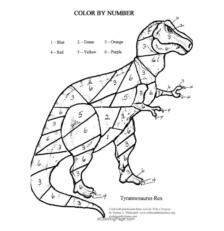 Color by number clipart download 12 Color By Numbers Coloring Pages For Kids - Dinosaur Color By ... download