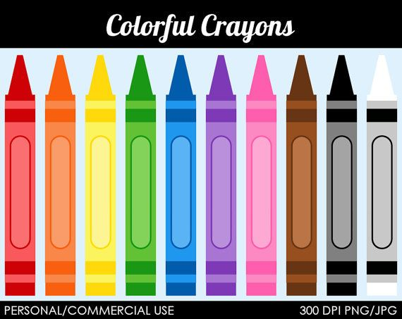 Color crayon clipart banner freeuse download Colorful Crayons Clipart Digital Clip Art by MareeTruelove, $1.50 ... banner freeuse download