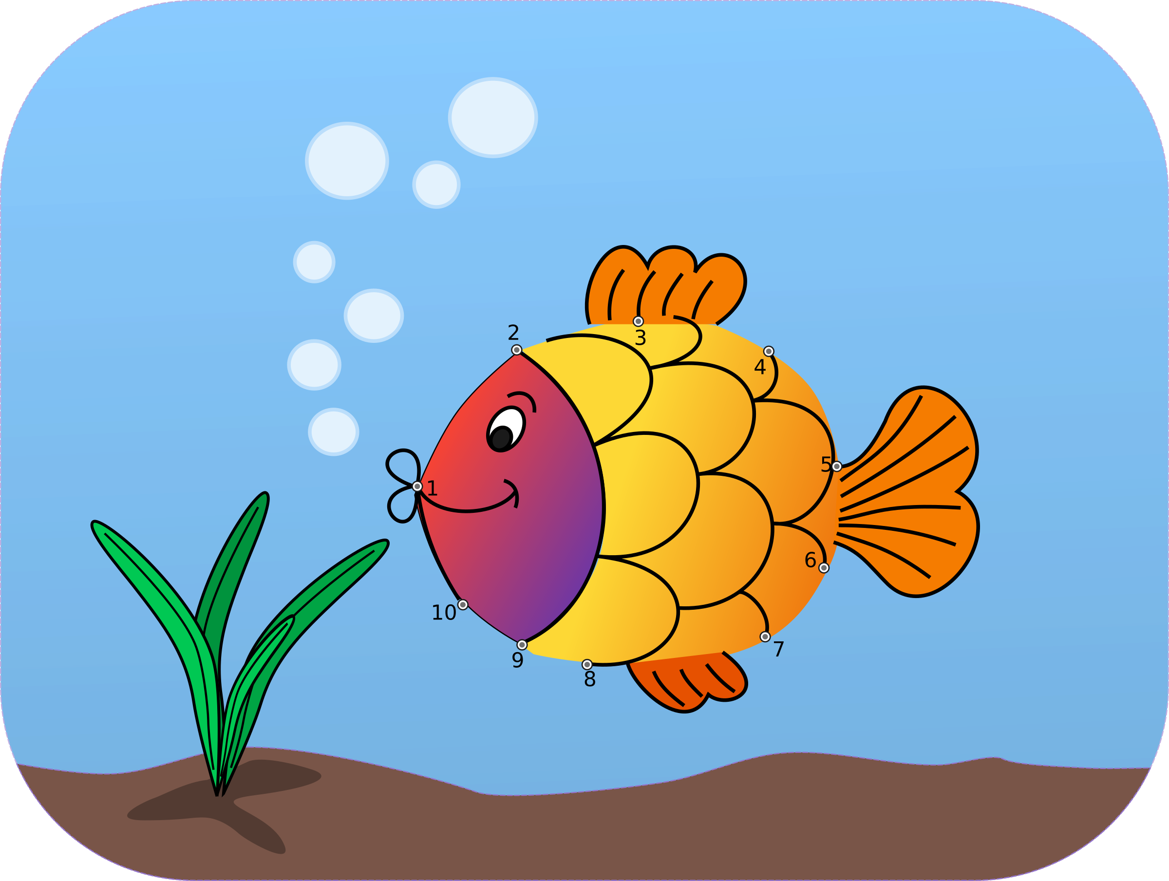 Fish in love clipart. Connect the dots colored