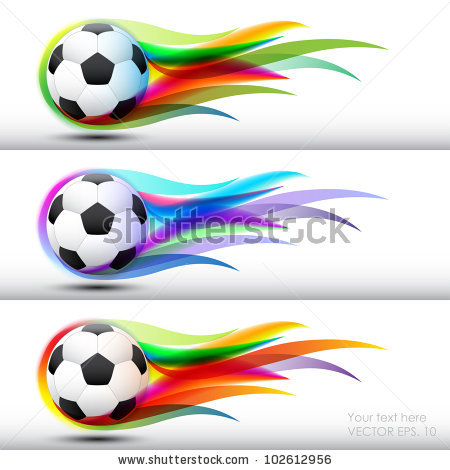Color soccer ball clipart. Football flames banner stock