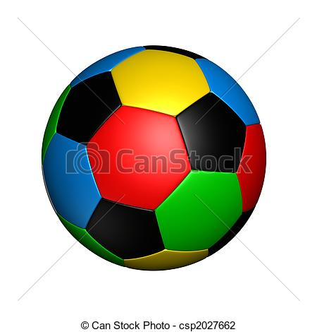 Color soccer ball clipart image freeuse stock Clip Art of olympic colored soccer ball - soccer ball with colored ... image freeuse stock