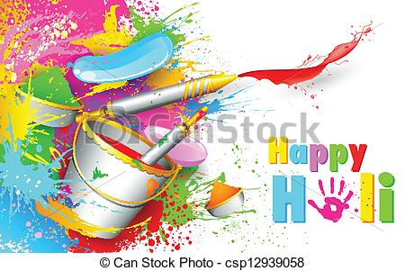 Color stock clipart art clip art download Clipart Vector of Holi Background with bucket of color ... clip art download