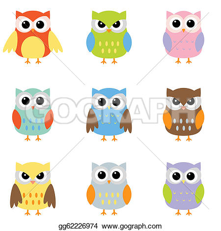 Color stock clipart art svg transparent stock Vector Illustration - Color owls clip art. Stock Clip Art ... svg transparent stock