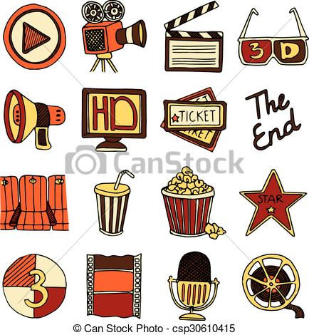 Color stock clipart art png royalty free Vector Clip Art of Cinema vintage icons set color - Vintage cinema ... png royalty free