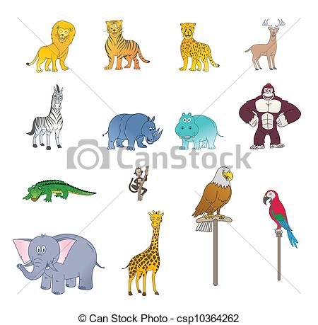 Color stock clipart art svg Clip Art Vector of Set Of Wild Animal Color csp10364262 - Search ... svg