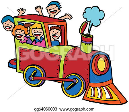 Color stock clipart art graphic transparent library Clip Art Vector - Cartoon train ride color. Stock EPS gg54060003 ... graphic transparent library