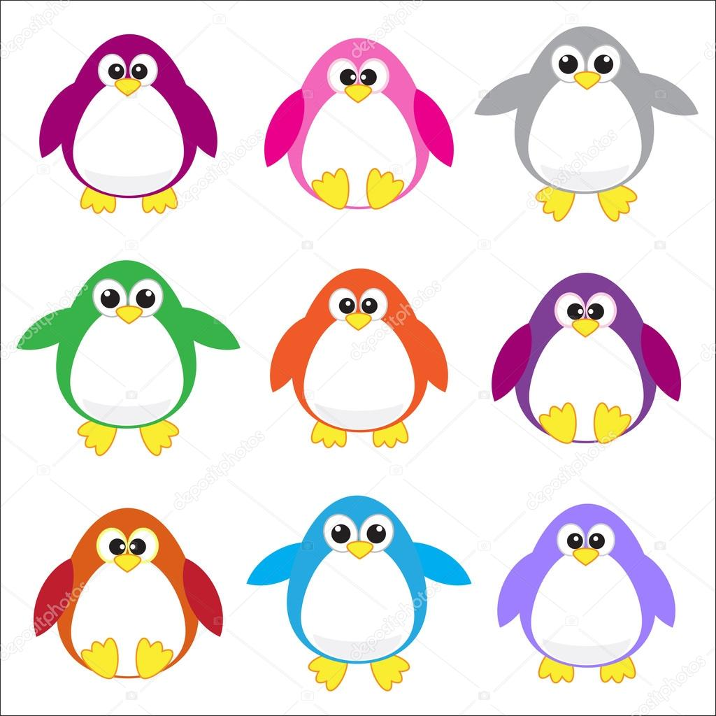 Color stock clipart art transparent download Color penguins clip art — Stock Vector © Marta17 #7400608 transparent download