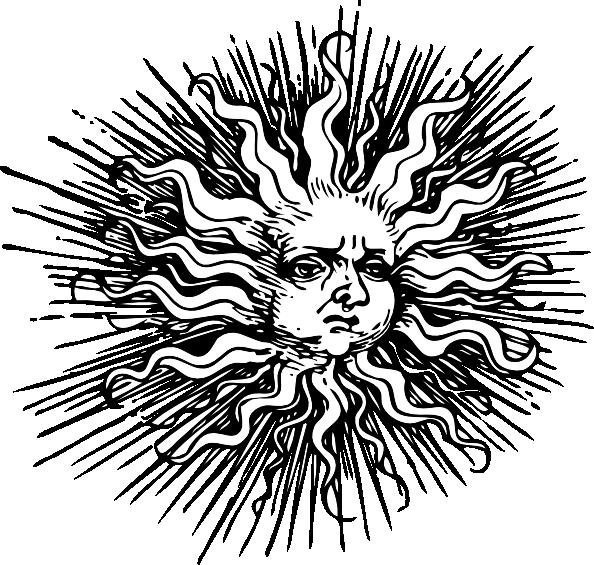 Color sun tattoo clipart image black and white sun face art | Ornate Sun clip art - vector clip art online, royalty ... image black and white