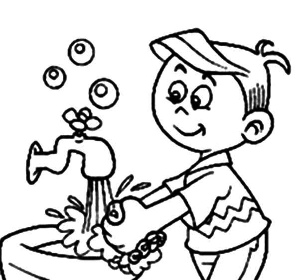 Color wash clipart vector library Free Coloring Page Hand Washing For Kids Coloring Pages New at ... vector library