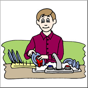 Color wash clipart black and white Clip Art: Kids: Chores: Washing the Dishes Color I abcteach.com ... black and white