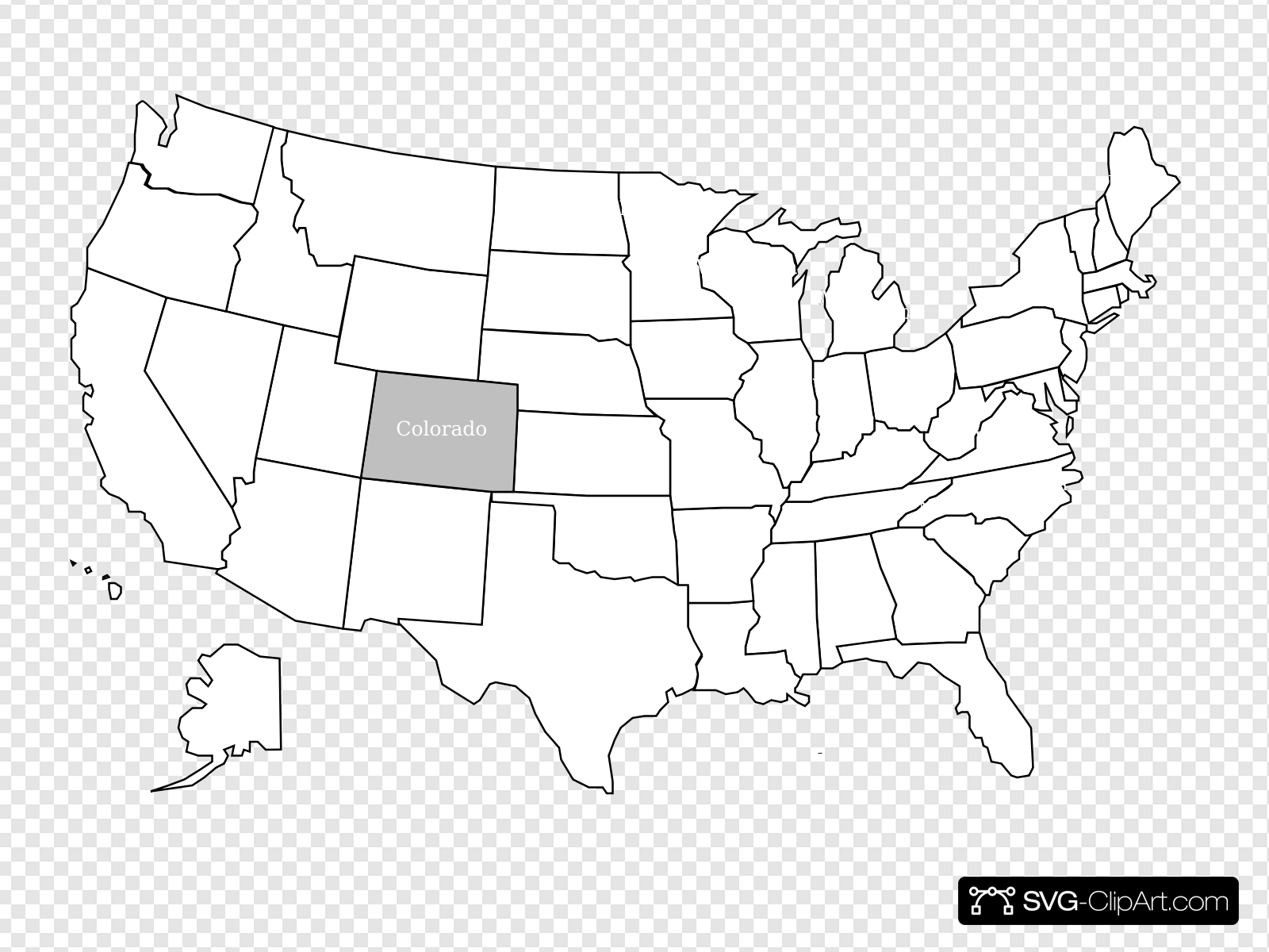 Colorado state clipart svg black and white stock United States Map With Colorado Highlighted Clip art, Icon and SVG ... svg black and white stock