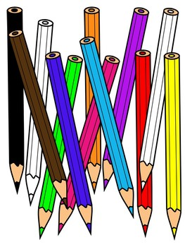 Colored pencil black and white clipart free library COLORED PENCILS CLIPART * COLOR AND BLACK AND WHITE free library