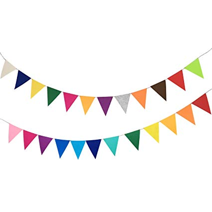 Colorful banner clipart clip free stock Amazon.com: Misscrafts 16.4 Feet Pennant Banners Total 24pcs Felt ... clip free stock