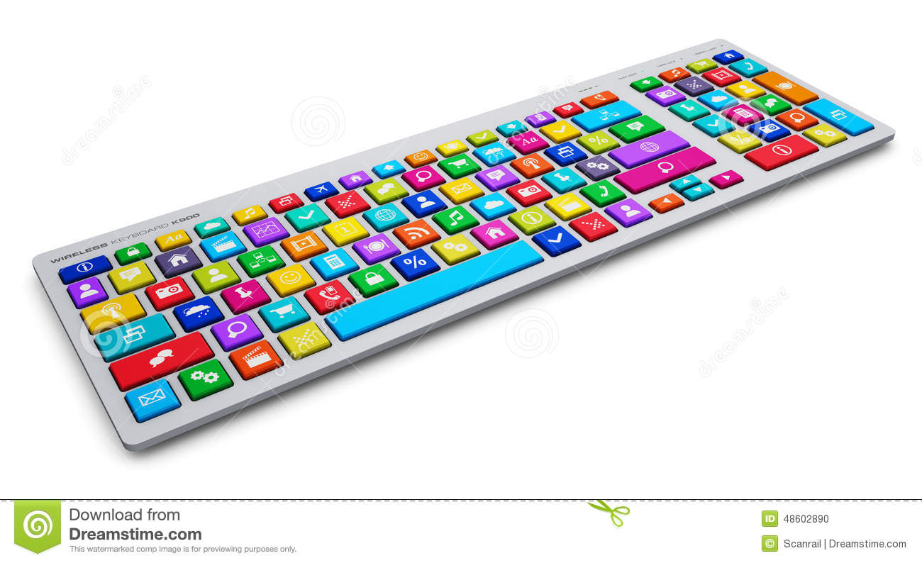 Colorful computer keyboard clipart clip royalty free Computer Keyboard With Color Social Media Keys Stock Illustration ... clip royalty free
