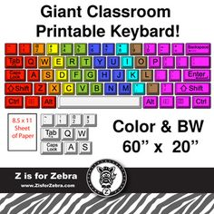 Colorful computer keyboard clipart picture download Great for computers or computer room -Keyboard Wall Made from Take ... picture download