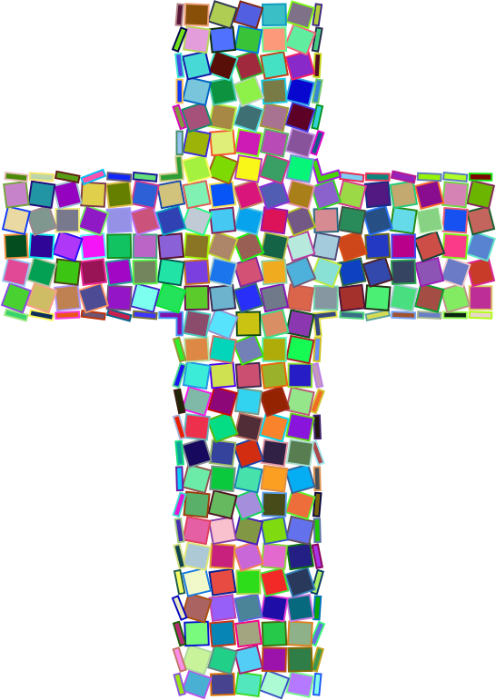 Colorful cross clipart graphic library library Clipart - Prismatic Mosaic Cross graphic library library