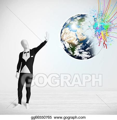 Colorful earth clipart picture freeuse download Drawing - Funny man in body suit looking at colorful splatter earth ... picture freeuse download