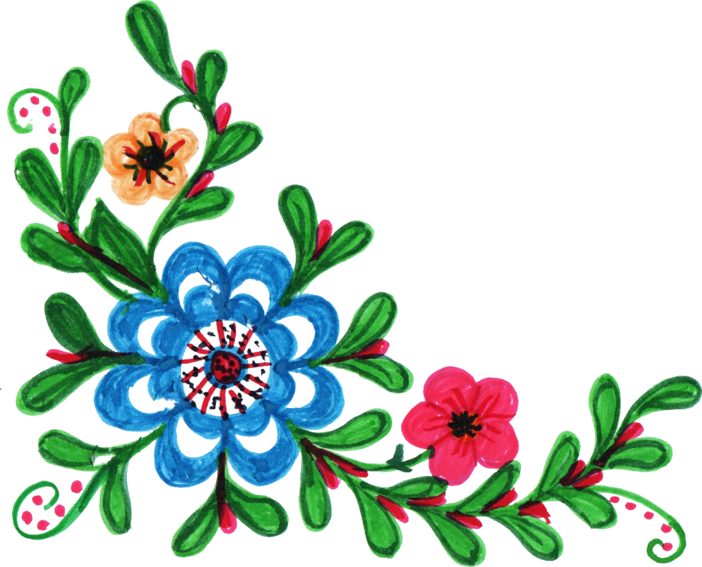 Colorful flower clipart image black and white download 8 Colorful Flower Corner (PNG Transparent) Vol.2 | OnlyGFX.com image black and white download
