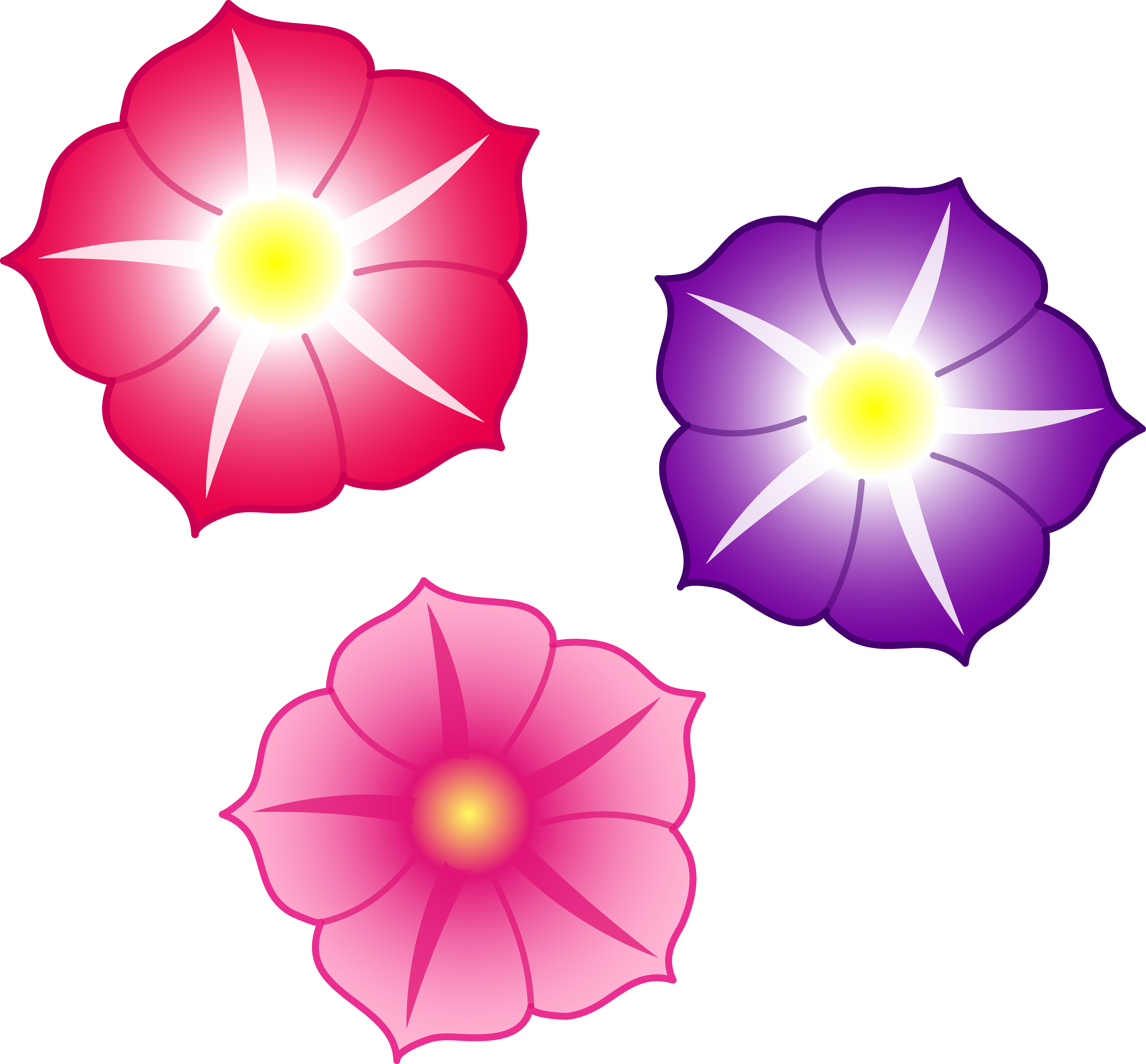 Colorful flower clipart svg black and white stock Petunian Flowers Clipart svg black and white stock