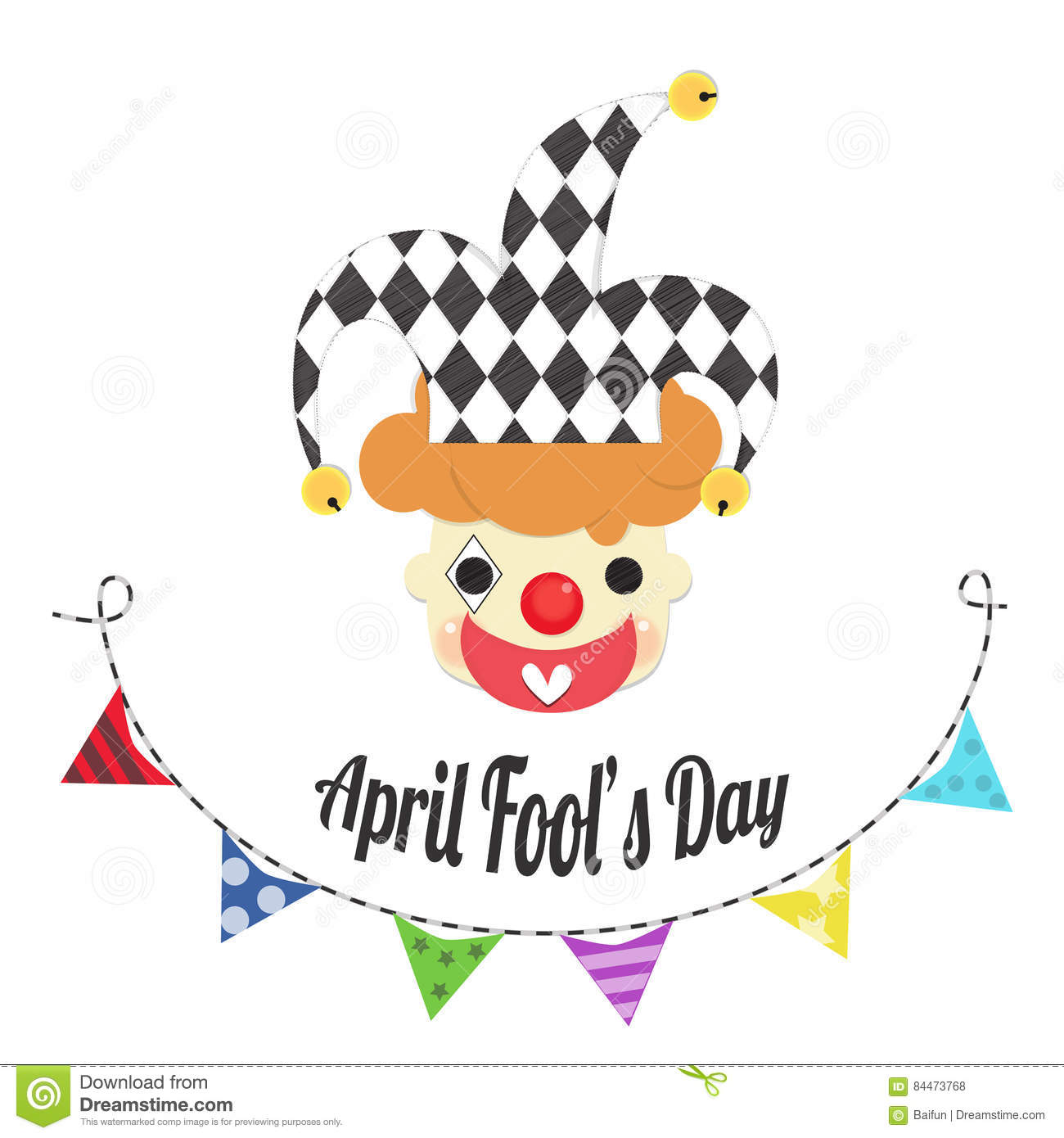 Colorful fool clipart cute image black and white download April Fools Day With Joker Head Stock Vector - Image: 84473768 image black and white download