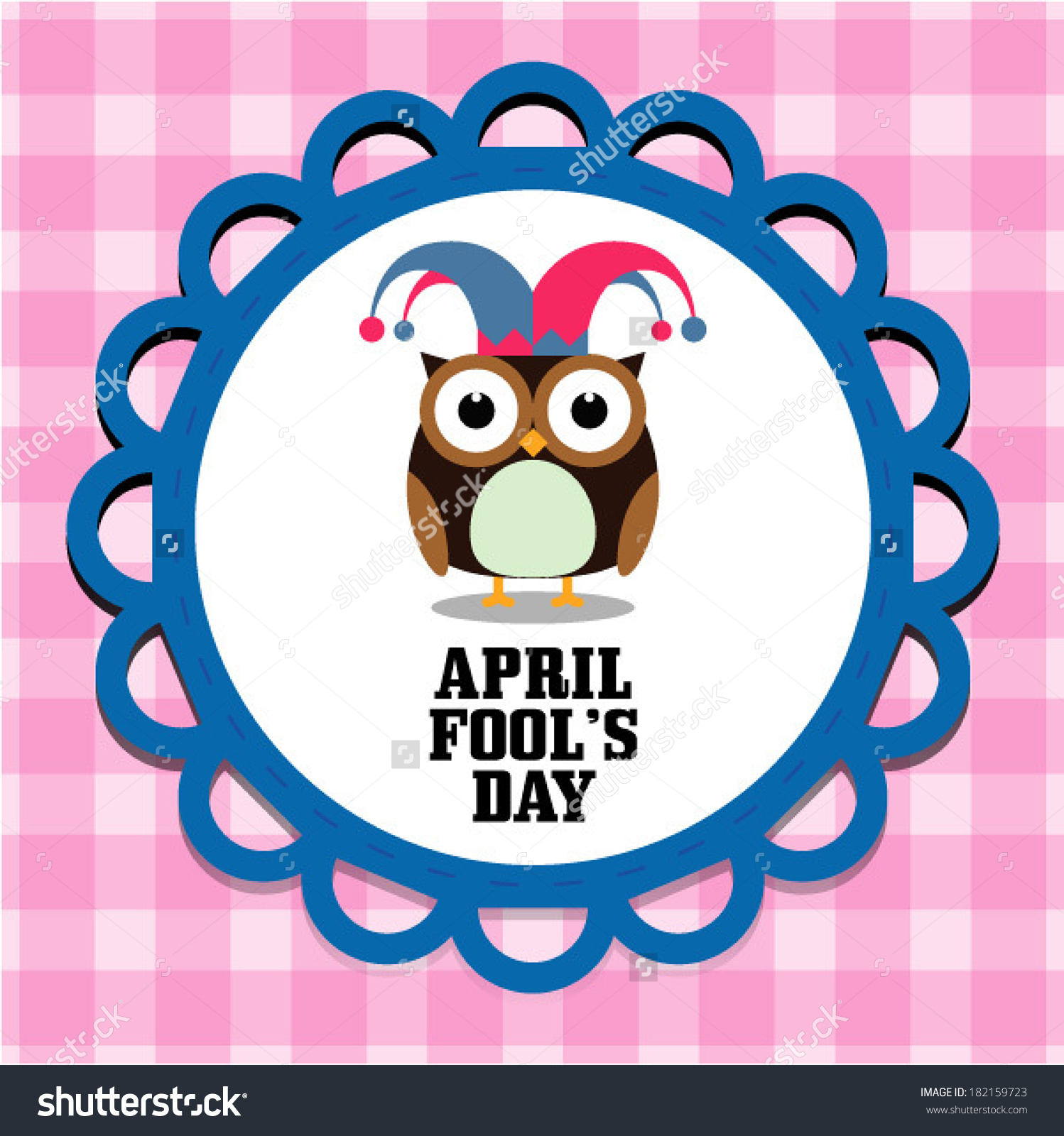 Colorful fool clipart cute clip art freeuse library April Fools Day Message Cute Owl Stock Vector 182159723 - Shutterstock clip art freeuse library