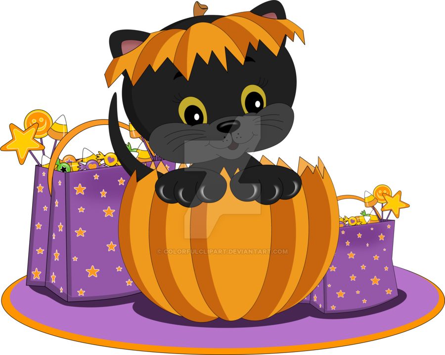Halloween trick or treat clipart vector black and white Halloween Kitten Clipart by ColorfulClipart on DeviantArt vector black and white
