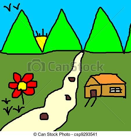 Colorful landscape clipart banner free colourful landscape drawing banner free